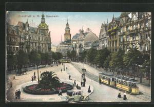 AK Frankfurt a. M., Rossmarkt mit Strassenbahn