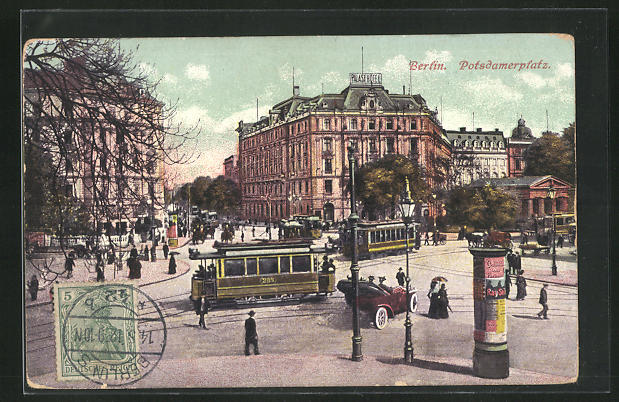 AK Berlin-Tiergarten, Potsdamerplatz mit Strassenbahn 0