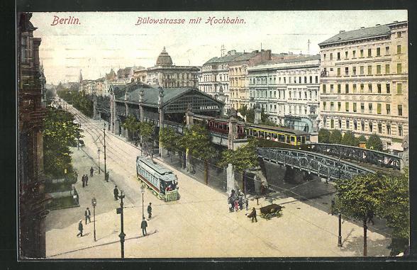 AK Berlin-Schöneberg, Bülowstrasse mit Hochbahn 0