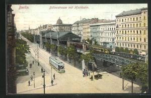 AK Berlin-Schöneberg, Bülowstrasse mit Hochbahn