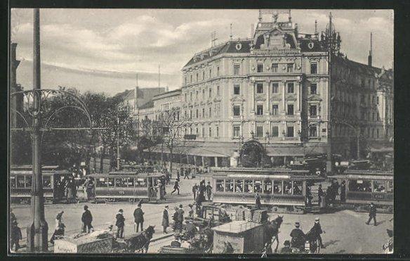 AK Berlin-Tiergarten, Potsdamer Platz mit Strassenbahn 0