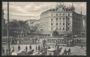 AK Berlin-Tiergarten, Potsdamer Platz mit Strassenbahn