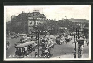 AK Berlin-Tiergarten, Potsdamer Platz mit Verkehrsturm und Strassenbahn