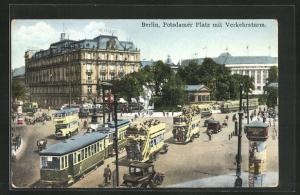 AK Berlin-Tiergarten, Potsdamer Platz mit Verkehrsturm um Strassenbahn