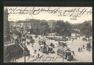 AK Berlin-Tiergarten, Potsdamer Strasse und Strassenbahn, Potsdamer Brücke und Schöneberger Ufer