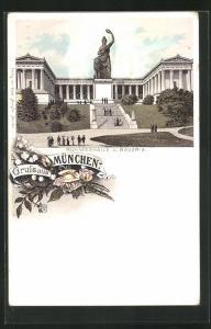 Lithographie München, Ruhmeshalle und Bavaria