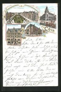 Lithographie Köln-Neustadt, Rathaus am Altmarkt, Kaiser Wilhelm-Ring, Post, Stadttheater