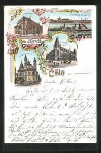 Lithographie Köln, St. Apostelkirche, Post, Stadttheater und Schiffbrücke