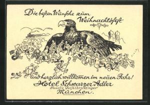 Künstler-AK München, Weihnachtsgrüsse vom Hotel Schwarzer Adler, Schillerstrasse 32
