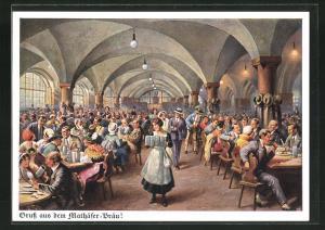 Künstler-AK München, Mathäser-Bräu, Blick in die Bierhalle, Bayerstrasse