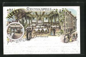 Lithographie Dortmund, Hotel Reichskapelle, Speisesaal