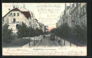 AK Elberfeld, Augustastrasse im Abendlicht mit Strassenbahn