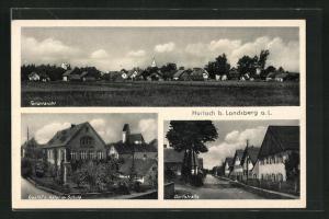 AK Hurlach a. L., Gasthof zum Adler mit Schule, Dorfstrasse