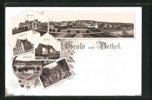 Lithographie Bielefeld, Anstalt Bethel, Zionskirche, Haus Nazareth