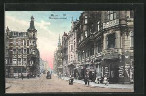 AK Hagen i. W., Abendstimmung in der Altenhagenerstrasse