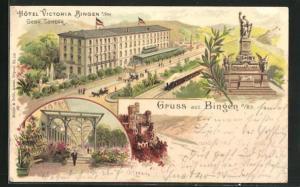 Lithographie Bingen a. Rh., Hotel Victoria, Nationaldenkmal auf dem Niederwald