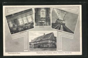 AK Osterwieck / Harz, Hotel Preussischer Hof, Kegelbahn, Klubzimmer