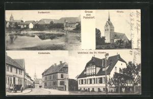AK Pabstorf, Blick in die Kirchstrasse, Wohnhaus des Dr. Klavehn