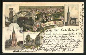 Lithographie Witten, Marien-Kirche, Gedächtnis-Kirche, Haus Witten, Bahnstation Wittener Köpfe