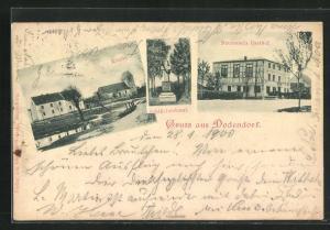 AK Dodendorf, Naumann`s Gasthof, Schill-Denkmal und Kirche