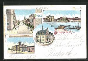 Lithographie Schönebeck, Bahnhof, Breiteweg, Hafen