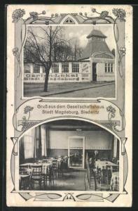AK Biederitz, Gesellschaftshaus Stadt Magdeburg, Café Heinrich