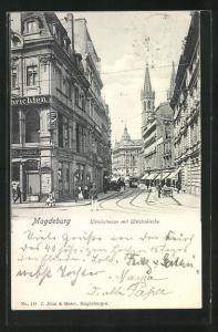 AK Magdeburg, Ulrichstrasse mit Ulrichskirche