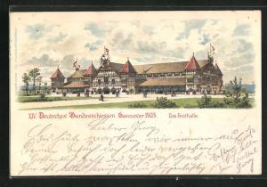 Lithographie Hannover, XIV. Deutsches Bundesschiessen 1903, Die Festhalle