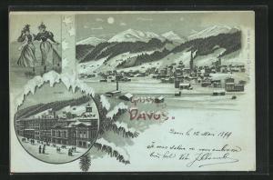 Winter-Mondschein-Lithographie Davos, Kursal, Eisläuferinnen