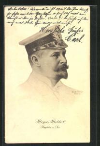 Künstler-AK Brüncker: Kapitän zur See Meyer-Waldeck, Gouverneur von Kiautschou