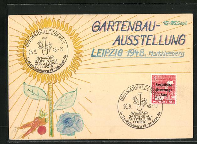 Künstler-AK Handgemalt: Leipzig, Gartenbau-Ausstellung 1948, DDR-Propaganda 0