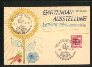 Künstler-AK Handgemalt: Leipzig, Gartenbau-Ausstellung 1948, DDR-Propaganda