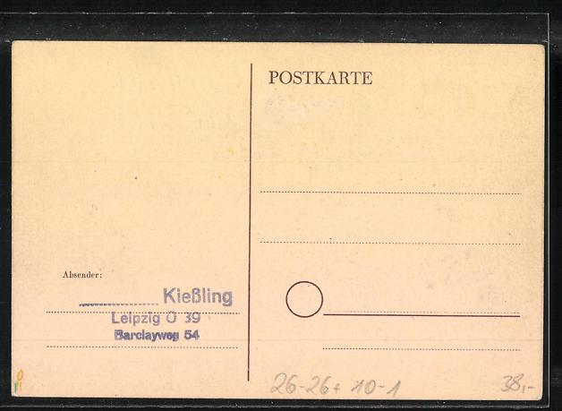 Künstler-AK Handgemalt: Leipzig, Gartenbau-Ausstellung 1948, DDR-Propaganda 1