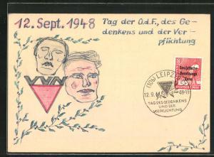 Künstler-AK Handgemalt: Tag der O.d.F. des Gedenkens und der Verpflichtung 1948, DDR-Propaganda