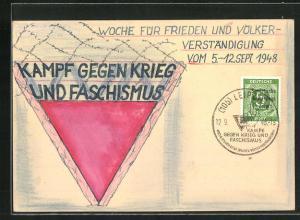 Künstler-AK Handgemalt: Kampf gegen Krieg und Faschismus 1948, DDR-Propaganda