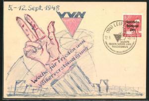 Künstler-AK Handgemalt: Woche für Frieden und Völkerverständigung 1948, DDR-Propaganda