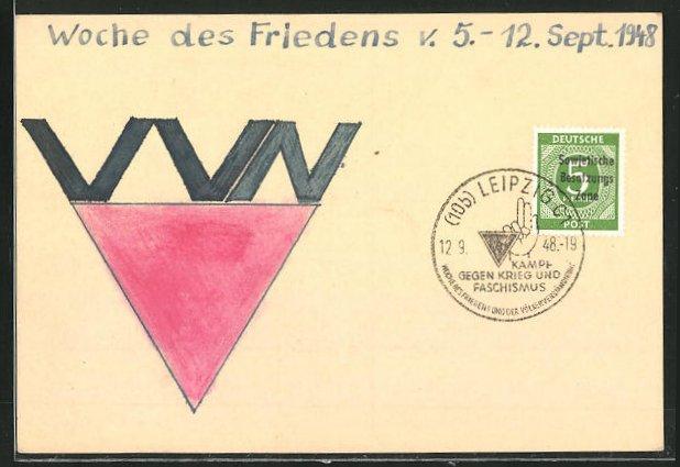 Künstler-AK Handgemalt: Woche de Friedens 1948, DDR-Propaganda 0
