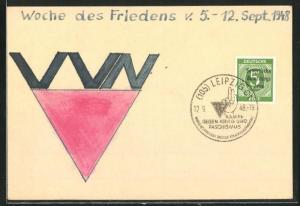 Künstler-AK Handgemalt: Woche de Friedens 1948, DDR-Propaganda