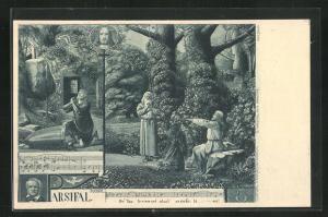 AK Bayreuth, Szenen aus Parsifal, und Noten, betende Menschen, Jesus Bild