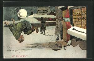 Künstler-AK Lawson Wood: Mann wird in Winternacht aus der Kneipe geworfen, A Throw out