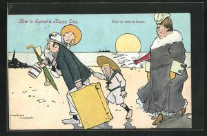 Künstler-AK Lawson Wood: Familie verlässt den Strand, Matrosenanzüge, How to return home