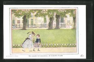 Künstler-AK Henriette Willebeek le Mair: zwei Mädchen in Sommerkleidung auf Weg, A basketful of nuts