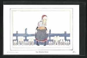 Künstler-AK Henriette Willebeek le Mair: Mädchen neben Holzpantoffeln, The Wooden Shoes