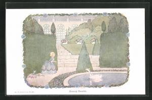 Künstler-AK Henriette Willebeek le Mair: Mädchen in Park vor Gans, Goosey Gander