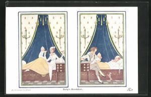 Künstler-AK Henriette Willebeek le Mair: Mutter mit Baby im Bett, Vater sitzt mit Baby am Bett und Mutter schläft