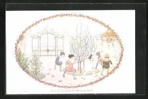 Künstler-AK Henriette Willebeek le Mair: Kinder mit Muff im Herbst laufen im Kreis, Round the Mulberry Bush