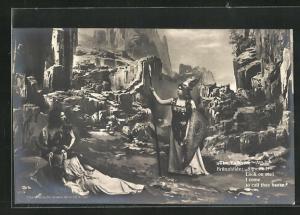 AK Bayreuth, The Valkyrie, Act II., Brünnhilde zwischen Felsen mit Paar