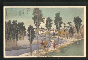 Künstler-AK Hiroshige, Blick auf Wanderer auf Weg zu einer Stadt, Japanische Kunst