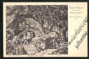 AK Bayreuth, Ring der Nibelungen, Siegfried tötet Fafner, Richard Wagner