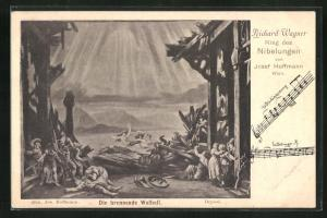 AK Bayreuth, Ring der Nibelungen, Die brennende Walhall, Richard Wagner